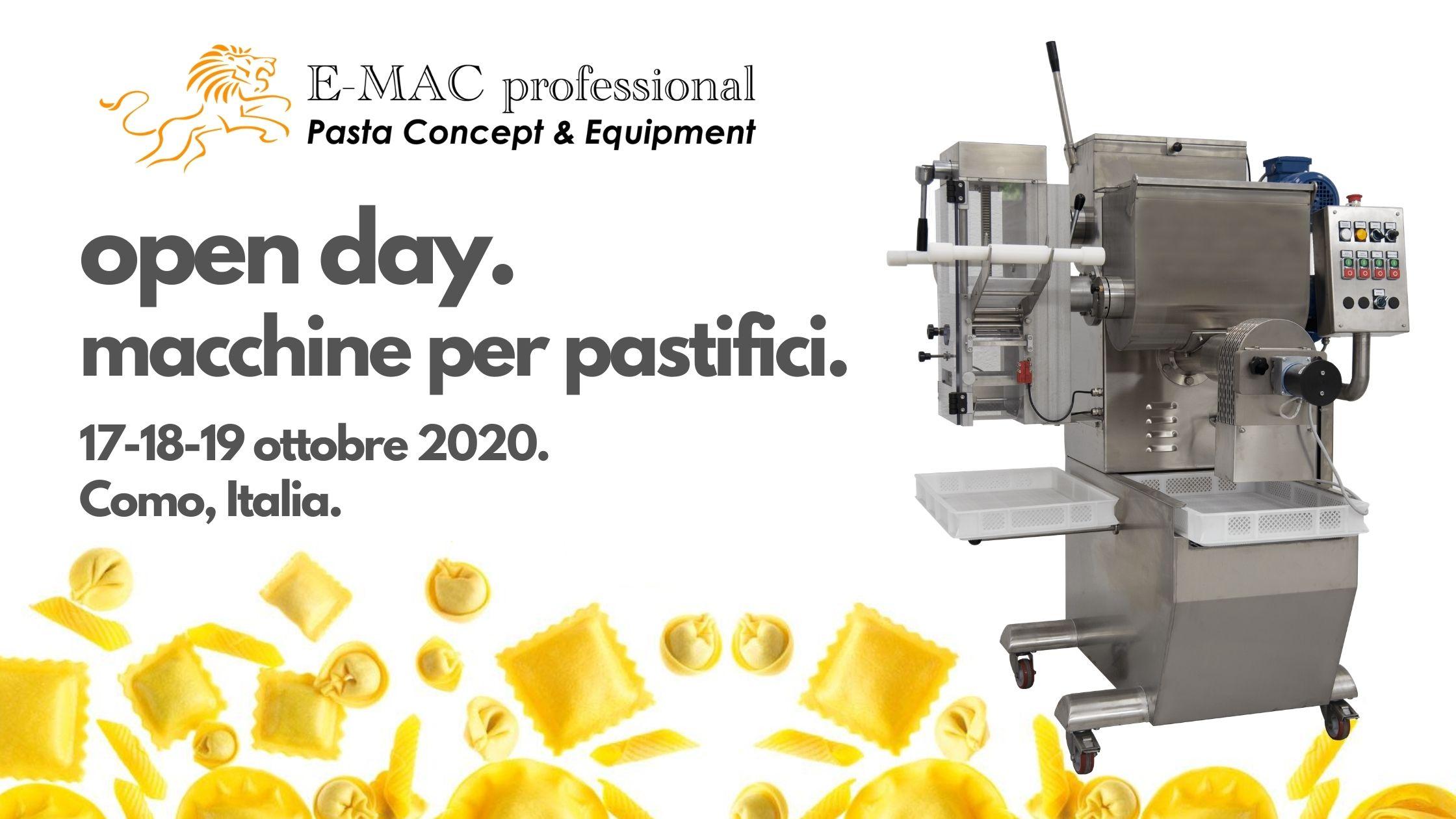 Open Day E-MAC Macchine per Pastifici 2020